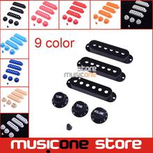 Multi color 1 Set Plastic Single Coil Electric Guitar Pickup Cover 1 volume 2 Tone speed control Knob Guitar Switch tip