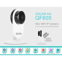 ESCAM Ant QF605 WIFI ONVIF2.0 720P IR Cut P2P 3.6mm Lens Wireless IP Security Mini Camera Support Android IOS for Home Company(China)