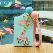 Lovely hard bus card sets of acrylic key chain hanging rope card with a giraffe