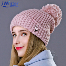 IWINTER 2018 New Winter Hat For Woman Flamingo Pattern Skullies Beanies Pom Pom Hat Fur Ball Cap Knitted Cap Thick Woman's Hats(China)