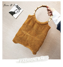 knitting totes bag women bamboo handbags brown red black color autumn winter 2017 fashion(China)