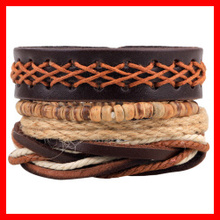 Stocks Selling Newest Leather Bracelet for Men four pieces per set adjust size Wholesale Boho Bracelet(China)