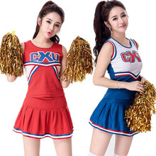 S-XL Sexy High School Cheerleader Costume Women sportswear aerobics dance Cheer Girls DS Uniform Party Outfit Tops and Skirt