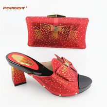 Bridal Wedding Italian Design Shoes With Matching Bag Red Color Decorated with Rhinestone Nigerian Wedding Shoes and Bag Set(China)