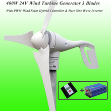 Great Discount 3 Blades 400W 24V Wind Turbine Generator With PWM Wind Solar Hybrid Controller & 1KW Pure Sine Wave Inverter