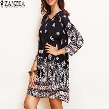 Plus Size Women Floral Crewneck Long Sleeve Casual Loose MIni Dress Boho Ladies Party Beach Holiday Shift Dress