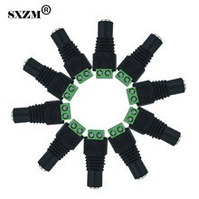 SXZM 50pcs/lot DC connector 2.1*5.5mm female DC Power Jack socket Plug Connector for 3528/5050/5730 single color led strip(China)