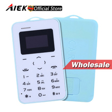 Wholesale Price Original Ultra Thin Mini AIEK/AEKU C6 Cell Phones Student Version Credit Card Mobile Phone Bluetooth 10pieces(China)