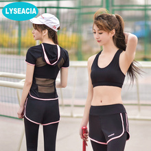 LYSEACIA See-through Sport Suit Women Workout Backless Short Sleeve Hoodie Sport Bra Fitness wear Legging Women 3 in1 Yoga Set(China)