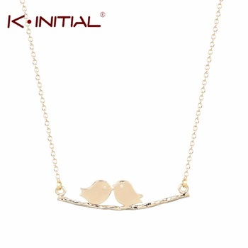 10pcs Gold Love Birds on a Branch Necklace Statement Necklace Love Birds Necklace Boho Chic Long Chain Necklace  Best Gift