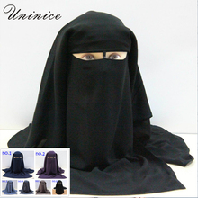 Islamic 3 layers Niqab Burqa Bonnet Hijab Cap veil Muslim Bandana Scarf Headwear Black Face Cover Abaya Style Wrap head covering(China)