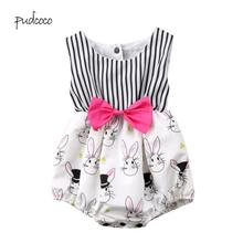 PKR 488.86  11%OFF   Pudcoco 2019 New Brand Newborn Baby Girls Bunny Bowknot Cartoon  Bodysuit  Easter Outfit