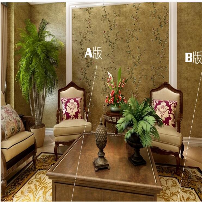 Room living room large area laying bedroom non-woven living room TV background wall European style wind wallpaper A version and <br><br>Aliexpress