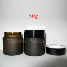 High quality 50g Dark Brown Frosted Glass Bottle Eye Cream Jar Makeup Jar Black Aluminum Cap Inner Cap Wholesale(China)