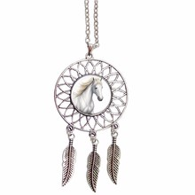 Trendy Style Dreamcatcher unicorn Pendant Necklace Horse Sweater Chain animal Pendant Jewelry Dream Catcher Necklace(China)