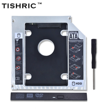 TISHRIC Universal Aluminum 2nd HDD Caddy 12.7mm SATA 3.0 DVD Adapter for 2.5'' 7-12.5mm SSD Case Enclosure CD-ROM Optibay