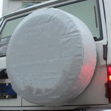 White Car Cover Water Repellent Elastic Design Car Covers For Automobile Spare Tire 13 14 15 16 17 Inch(China)