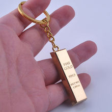 2017 Creative Metal Faux Gold Bar Bullion Keychain Car Keyring Free Shipping for Gift