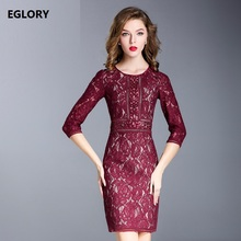 High Quality Fashion Clothing Lace Party Sexy Dress 2017 Women Hollow Out Lace Embroidery Black Red Wine Bodycon Fitness Dress(China)