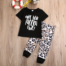 New Brand Newborn Baby Girls Clothing Sets Letter T-shirt +Leopard Pants Children clothing 2PCS Boys Set 1-5T