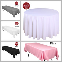 Shipping FREE 10PC/Lot Polyester Seamless Tablecloth Round Party Table Cover Cheap Square Table Cloth for Weddings Table Overaly(China)