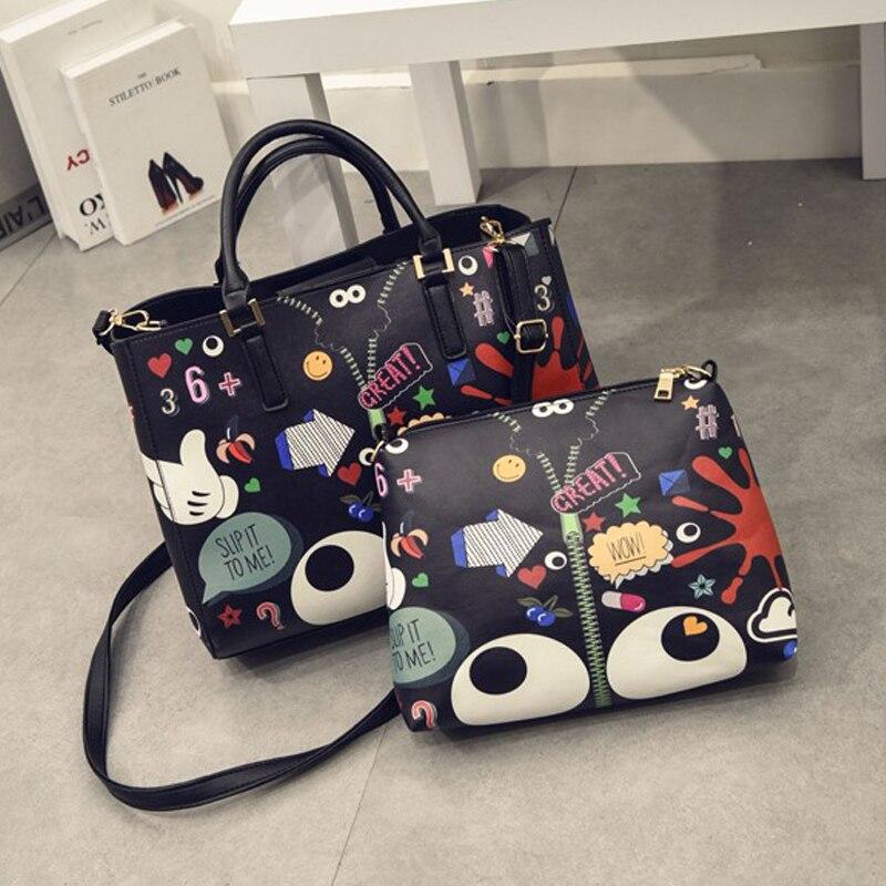 New 2017 New Fashion Women Handbags Cartoon Printing Composite Bag Embossed Leather Bag Lady Messenge Bag Vintage Shoulder Bag<br><br>Aliexpress