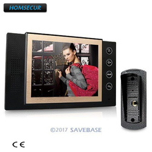 "HOMSECUR 1V1 8""New Wired Video Door Phone Intercom Metal Shell Camera With LCD Color Monitor(China)"