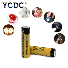 YCDC 2Pcs 100% Brand New 18650 Li-Ion Batteries 3.7V 3000mah For Torch Flashlight Batteries Cells Flat Top Rechargeable Battery