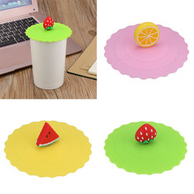 Hot Cute Fruit Lace Dust Reusable Silicone Cover Cup DIY Free Splicing Thermal Insulation Cup Seal Cover Lemon watermelon