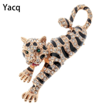 Tiger brooch pin antique gold silver color W crystal thanksgiving Xmas holiday jewelry gifts for women girls wholesale BA01