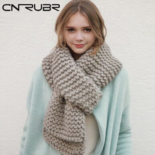 CN-RUBR New Women Winter Knitting Wool Collar Neck Warmer Scarf Shawl Handmade Scarves Fashion Women Knitted Wool Long Scarf(China)