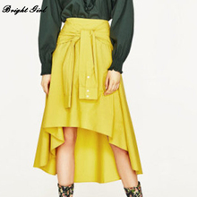 Irregular Orange Yellow Maxi Skirts Vintage Midi Punk Skirt Sexy Cotton Pleated Skirts for Women Urban Outfitters Bottoms(China)