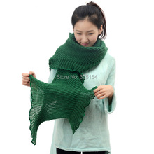 Winter Women Plain Color Ruffle Trim Wool Scarf Crocheted Stretched Scarf 7Colors 10pcs/lot