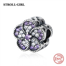 New arrival romantic flower charms with purple&white crystal CZ 925 silver beads Fit authentic pandora bracelet diy jewelry gift(China)