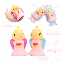 2017 Kawaii 8cm Mini ibloom Angel Squishy Slow Rising Soft Squeeze Cute Doll Phone Strap Bread Cake Stretchy Toy Gift W/Package