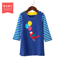 Girls Dresses Long Sleeve 2017 Spring Brand Kids Dress for Girls Clothes Robe Enfant Animal Appliques Princess Costumes Children(China)