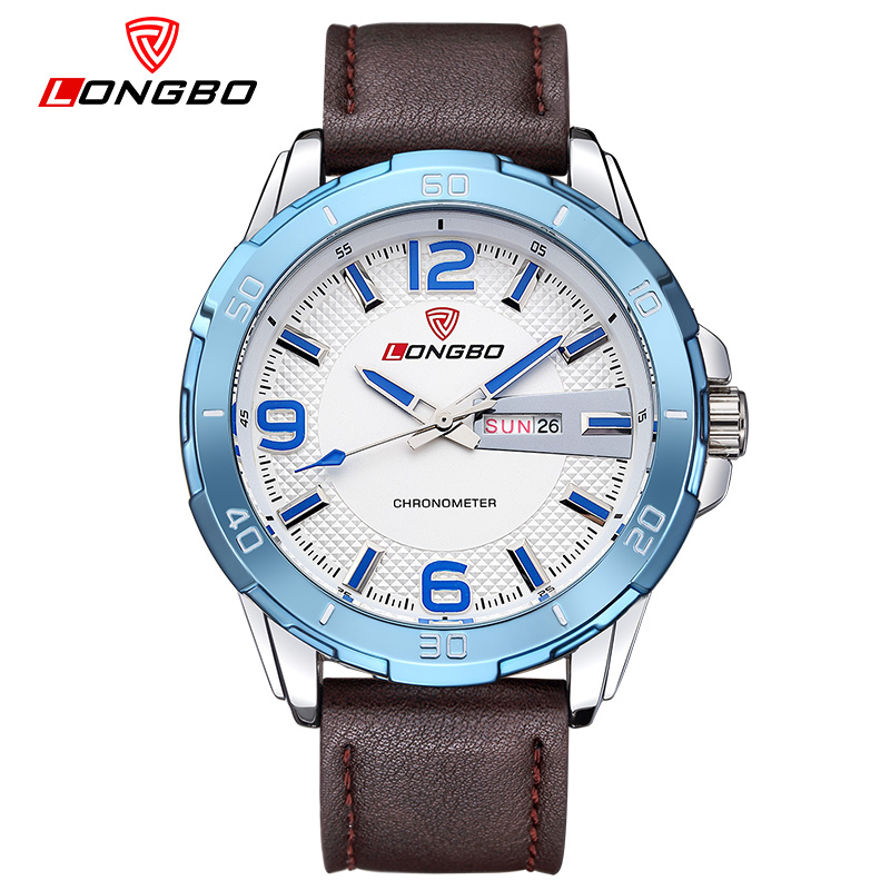 LONGBO Brand Big Dial Designer Quartz Watches Men Sports Wristwatches Waterproof Leather Strap Watch Hours Clock Male 80197<br><br>Aliexpress