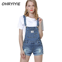 OHRYIYIE 2017 New Jumpsuit Denim Overalls For Women Summer Hole Ripped Rompers Playsuits Female Jean Shorts Strap Pockets Jeans