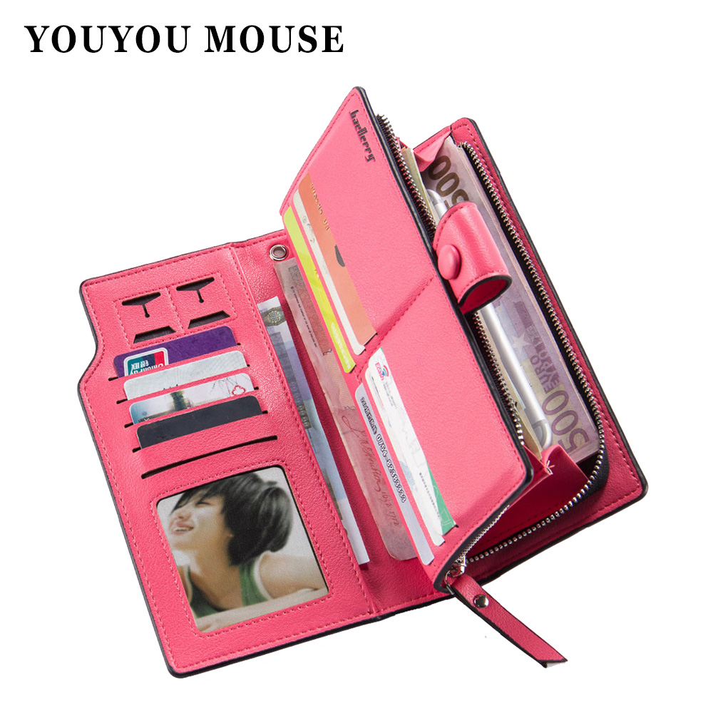 YOUYOU MOUSE High Quality Women Long Wallets Large Capacity Multi-card Money Purse PU Leather Coin Packet Phone Bag Card Holder<br><br>Aliexpress