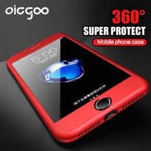 Buy Oicgoo 360 Degree Full Cover Case iPhone 6 6s 7 Plus Cases Tempered Glass Cover iphone 7 7Plus 6s Phone Bag Case for $3.00 in AliExpress store