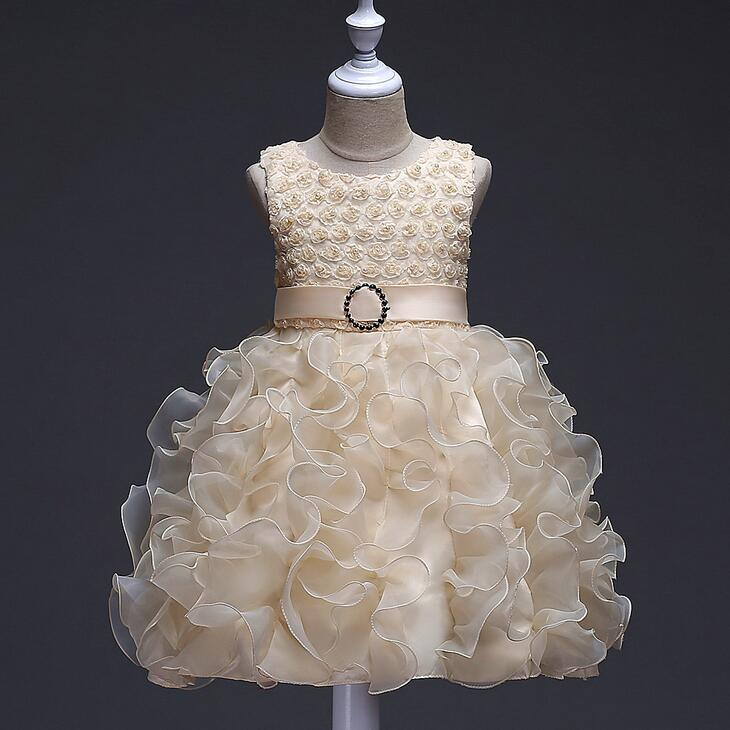 champagne White blue Red purple Flower Girl Dress Crystals Beaded Ruffles Organza Short Girls Pageant Dress Prom Party Gowns<br>
