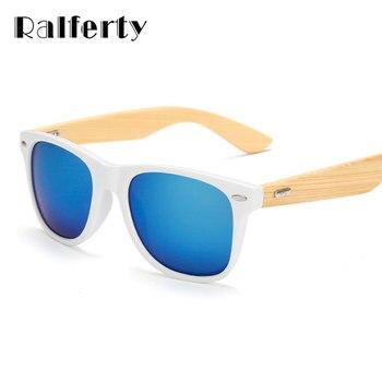 Ralferty 2017 retro espelhado moldura de madeira de bambu óculos de sol das mulheres dos homens óculos de sol anti uv oculos goggles branco au drop shipping