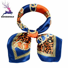 DOUDOULU 2017 Fashion Women Printing Square Scarf Head Wrap Kerchief Neck Shawl Polyester Printed Scarf Cachecol Bufanda Mujer(China)