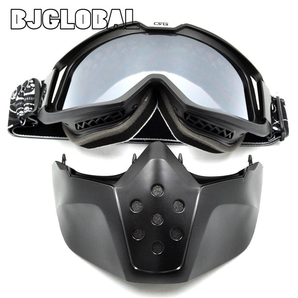 BJGLOBAL Ski Motorcycle Mask Half Goggles Helmets Open Face Detachable Goggle Motocross Motorbike Motor Vintage Glasses