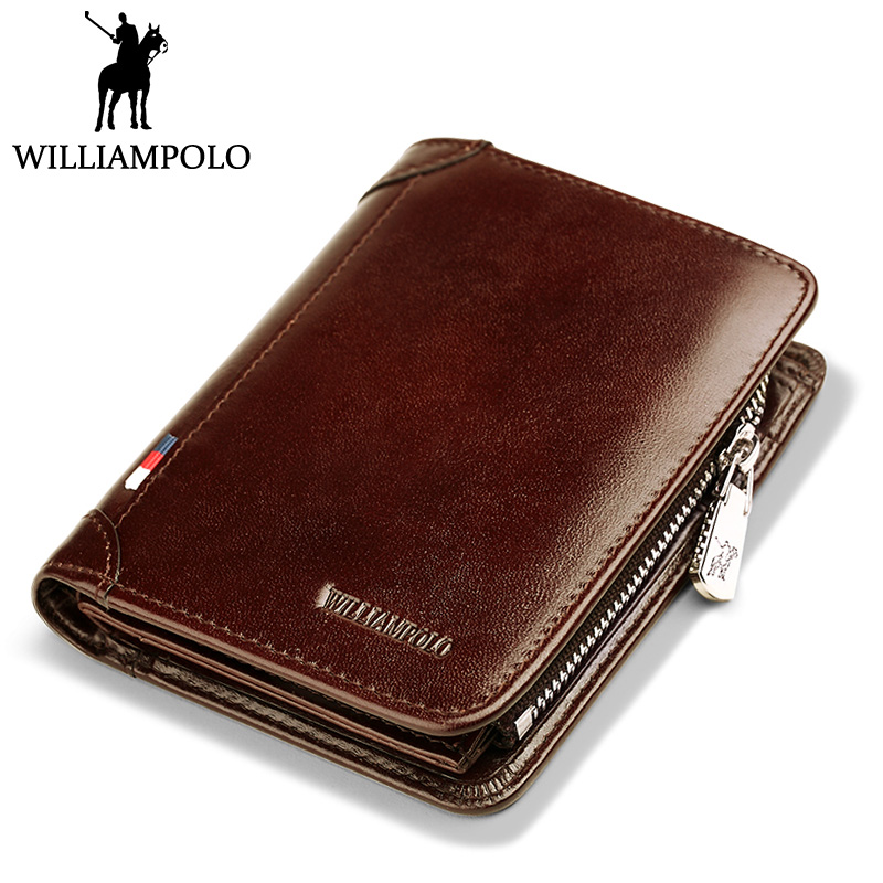 WilliamPOLO New Genuine Leather Mens Mini Wallet Holder Male Purse 2018 Fashion 2 Fold Wallet Men Short Bifold Real Cowhide Gift<br>
