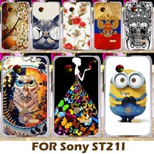 DIY Painting Design Hard Plastic Case For Sony Xperia Tipo ST21i ST21a 3.2 inch Cell Phone Cover Protective Sleeve Funda Carcasa
