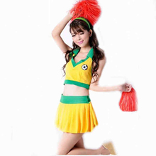 Sexy New Popular Style V-neck Sleeveless Short Tops Mini Football Basketball Team Sport Match Dance Cheerleader Clothes Costume