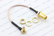 5 pcslot 10cm RG178 Straight RP SMA Female (Male Pin) to Right Angle MCX Male Connector Pigtail Extension Cable