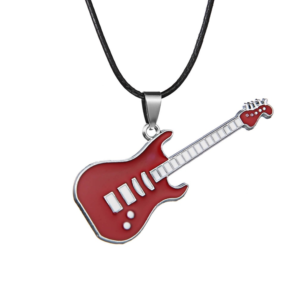 Fashion Stainless Steel Guitar Pendant Necklaces Gift Accessory Rock Music Jewelry Music Festival Hiphop Choker Necklace