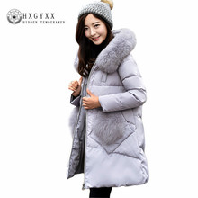 Womens Duck Down Jacket Goose Feather 2017 Fur Collar Hooded Down Coat Plus Size Slim Solid Color Parka Winter Jackets Okb113(China)